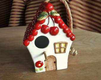 Ceramic Birdhouse with Cherry Roof for Clever Choice Los Angeles by Noho Studios New York – Hand Painted