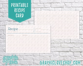 Digital 3x5 Fork & Spoon Double Sided Printable Recipe Card | Bridal Shower Activity | High Res JPG Files, Instant Dowload, Ready to Print
