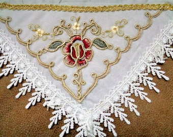 Lace Embroidered handkerchief, Lace Hanky, Embroidered Hankies, White Gold Floral Handkerhief, Wedding Handkerchief, Bridal Hankies
