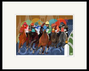 Horses Running the Kentucky Derby Signed Print Modern Equine Fine Art Jockeys Horse Tracks Vivid Colors Horses Silks