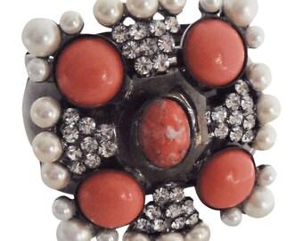 Coral and Pearl Cuff Bracelet Vintage Lawrence Vrba Vrba Jewelry Statement Jewelry Maltese Cuff Bracelet