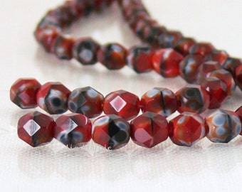 Red Black Swirl, Czech Beads Fire Polished 6mm 25 Faceted Round GLass