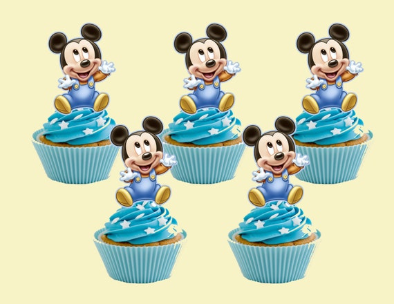 Baby Mickey Mouse Cupcake Topper Cupcake Picks DIGITAL FILE