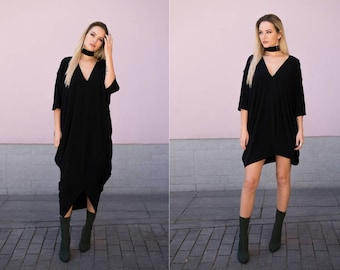 Black oversized dress, Convertible dress, Short dress, One size dress , Tunic dress, Loose fitting dress, Modern dress, Maternity dress