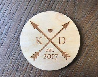 Custom Wedding Coaster   Initials Monogram Arrows   Heart   Est. Date   Personalized Birch Wood