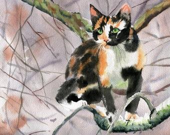 Calico Cat  Art Print of a Watercolor Handmade Painting large big huge black orange reproduction hand painted custom canvas