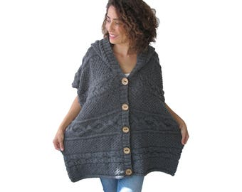 Plus Size Boyfriend Cardigan - Dark Gray
