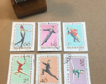 6 Postage stamps from Hungary - Magyar Posta -  postage stamps - skating