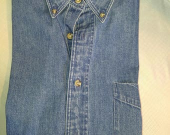 Klassische Hunt Club stonewashed L/S Denim Shirt (M)