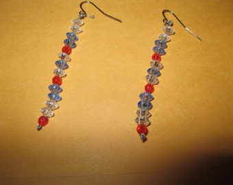 RED, CLEAR and BLUE Beaded Dangle Pierced Earrings - Handmade, One Of A Kind