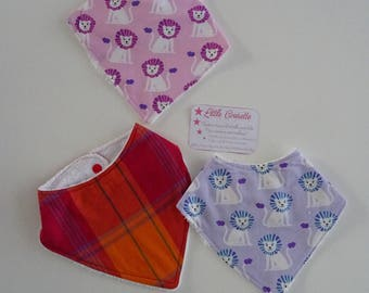 Set of 3 baby bandana bibs