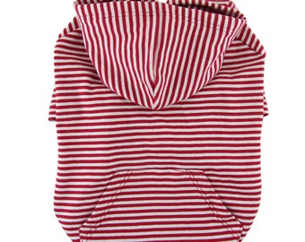 Red and white Striped  Raglan Sleeves 1 x1 Rib Knit Cotton hoodie Dog Top Dog Clothing Made in USA for small dogs