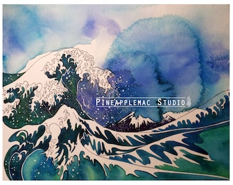 Watercolour print - The Great wave off Kanagawa - wave painting - home decor - wall art - art - abstract - print - limited edition