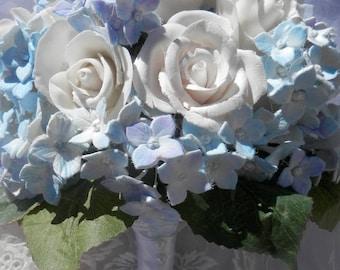 Something blue, white roses and blue hydrangeas