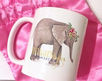 MVillStyles Mia Mug, Elephant Floral Mug, Floral Mug, MVillStyles