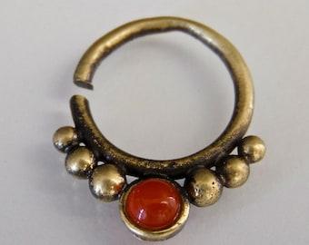 Tri Dev Red Onyx Brass Septum Ring - Septum Jewelry - Septum Piercing - 16G Septum Ring - Indian Septum Ring - Tribal Septum Ring (OB19)