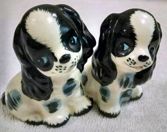 Beautiful Black and White Spaniels Salt and Pepper Set