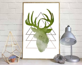 Geometric Deer-Head Watercolor Print (Green)
