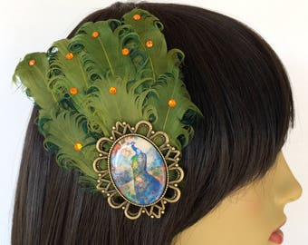 Green Fascinator, Peacock Fascinator, Peacock Hair Clip, Green Feathers, 1920s, Art Deco Fascinator, Jazz Age