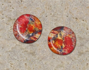 2 cabochons 20 mm resin impression stone gems gold
