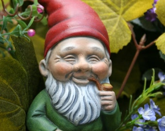 Garden Gnomes German Style Yard Gnome With Pipe Smoking