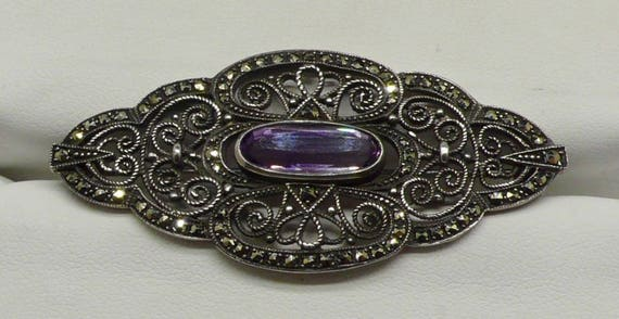 Vintage Filigree Marcasite Sterling Silver Pin/Brooch signed with an H 7/3