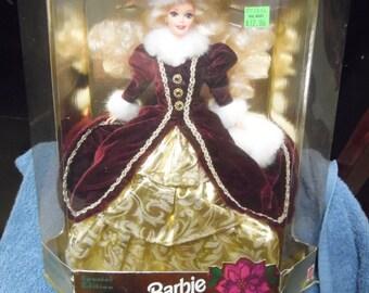 Mattel 1996 Barbie Doll with Presentation Box Happy Holidays Christmas Barbie Doll