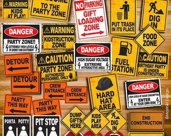 Construction Party Signs, Construction Birthday Party, Construction Signs, INSTANT DOWNLOAD, Construction Party Printables, Road Signs CS1
