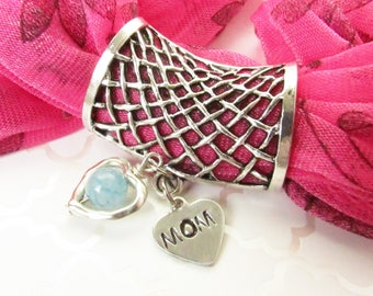 Mom Scarf Pendant, Scarf Jewelry, Hand Stamped Mom Gift, Scarf Accessories, Slide for Scarf, Heart Scarf Slide, Mom Scarf Gift