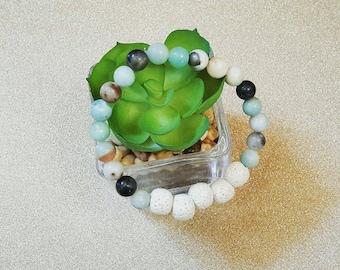 Essential oil diffuser bracelet Amazonite and white lava