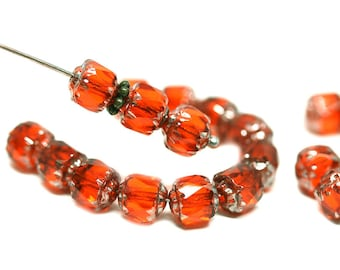 6mm Orange Cathedral Czech Glass beads Dark Orange red fire polished round beads silver ends - 20Pc - 1033