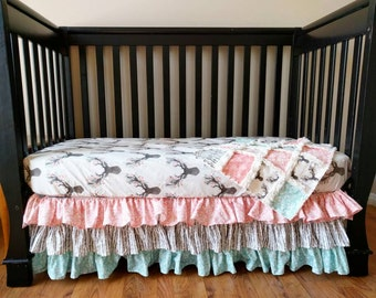 Floral Stag Crib Set for Baby Girl