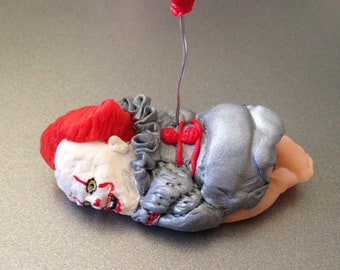 "OOAK 2.5"" Pennywise It Clown Sleeping Polymer Clay Baby Cake Topper Figurine Gift"
