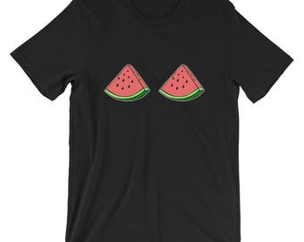 Women's Funny Watermelon Boobs Fruit Boobs T-Shirt