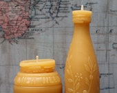 """Beeswax Candle Set - antique bottle shaped - """"Sm. Milk Weed Cream and Lime Juice w/ flowers"""" - by Pollen Arts - Sm"""