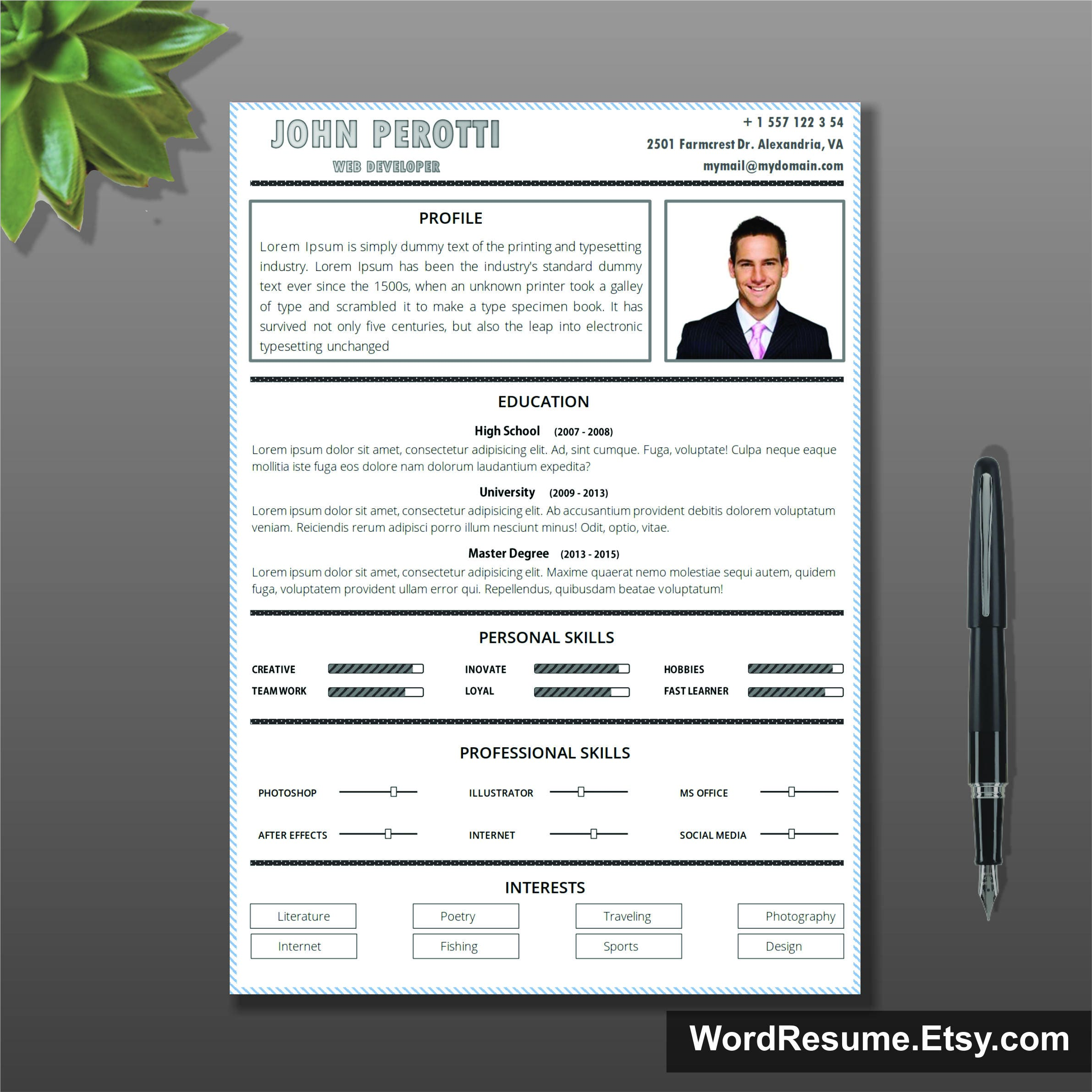 Simple Resume Template Cover Letter Cv Template Instant