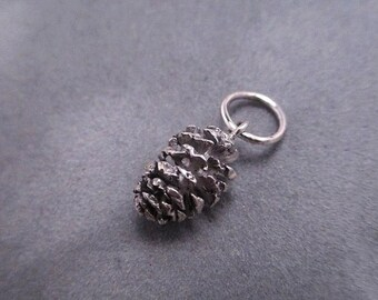 Pine cone pendant - Sterling silver - Cast from a real pine cone - No two are the same