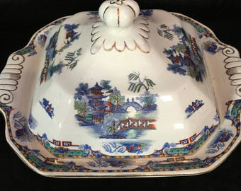 A rare Leighton pottery, chinoiserie square tureen