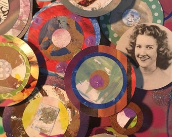 Hand painted, layered circles, ephemera