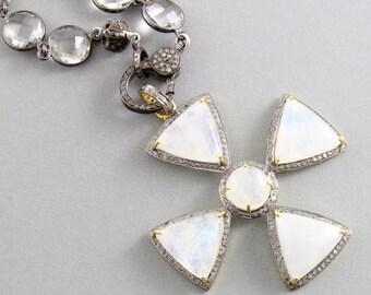 Pave Diamond Pendant, Pave Rainbow Fancy Moonstone Pendant, Pave Moonstone , Diamond Moonstone Necklace, Oxidized Silver.(DCH/PDT/1207)