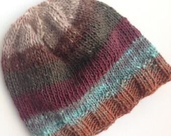 Baby's/Child's/Kid's Handknit Hat, Noro Yarn, Wool and Silk. Chemo Cap, Winter Cap. OOAK