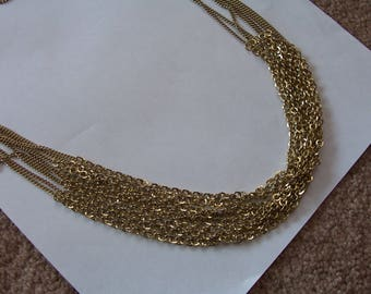 FREE SHIPPING! ~ Vintage L-O-N-G Gold Toned Chain ~ Eight Strands! ~ Adjustable