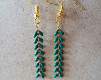 Tropical green spike earrings