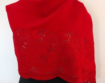 Red vermilion velvet and peony floral lace kimono shawl wrap - vintage