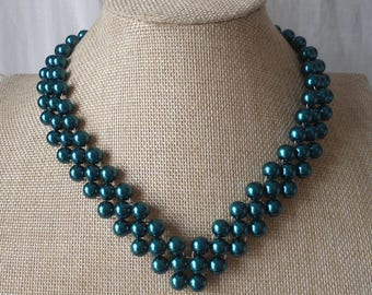 teal Pearl Necklace,3 strands Pearl Necklace,18 Inches Pearl Necklace, Glass Pearl Necklace,Bridesmaid necklace,Wedding Jewelry,Jewelry