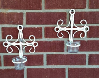 Pair of metal sconces with glass votives. FREE SHIPPING!    Item # 1019163