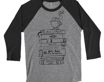 Book Stack / Book Lovers / Literature 3/4 Sleeve Unisex Baseball Shirt 16BvceUU4z