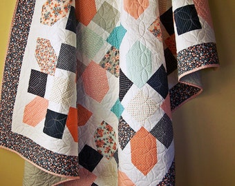 Modern Twin Quilt-Twin Bed Quilt-Floral Blanket-Handmade Quilt-Homemade Blanket-Twin Bedding-Quilts for Sale-Ready to  Ship-Navy-Peach-Pink