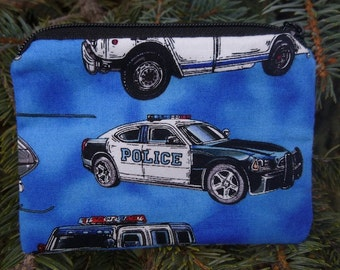 Police coin purse, gift card pouch, credit card pouch, milk money pouch, Police Vehicles,The Raven
