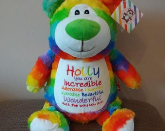 Personalised Rainbow Teddy Bear Stuffie, Baby, gift, New Baby, soft, Stuffed, Animal, Embroidered, Keepsake, Christening, Wedding, Birthday